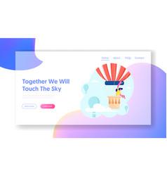 woman hiring air balloon website landing page vector image