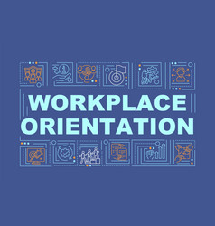 Workplace orientation navy word concepts banner vector