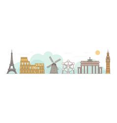 world famous landmarks including big ben london vector image