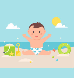 Baby sitting on sandy beach with toys and pool vector