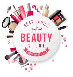 beauty store emblem vector image vector image
