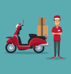color background with man worker with scooter and vector image vector image