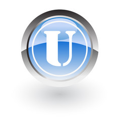 glossy icon letter u vector image