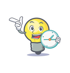light bulb character cartoon with clock vector image