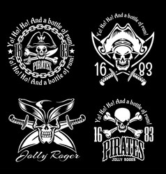 pirates emblem set with pirate spirit flying dutch vector image