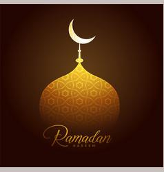 shiny golden mosque top for ramadan kareem vector image vector image