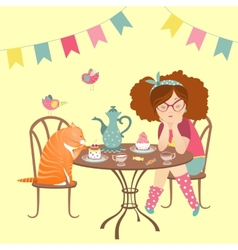 Beautiful girl drinking coffee with funny cat vector image vector image