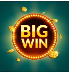 Big Win glowing retro banner for online casino vector image