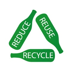 Bottles forming the recycle icon vector