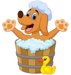 Cartoon Dog bathing in the Dog bathing vector image