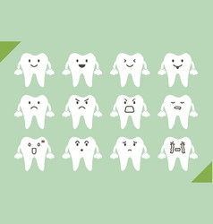dental set - cute cartoon tooth for design vector image vector image