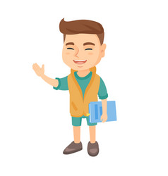 caucasian laughing boy holding a book vector image
