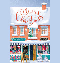 christmas market greeting card vector image vector image