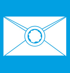 Envelope with wax seal icon white vector