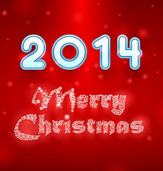 Snowy Merry Christmas red background vector image vector image