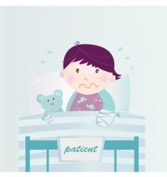 child in hospital cartoon vector image vector image