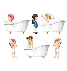 Children taking a bath vector image vector image