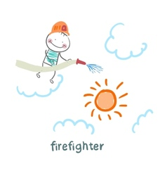 firefighter puts out the sun vector image vector image