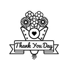 happy thank you day greeting emblem vector image vector image