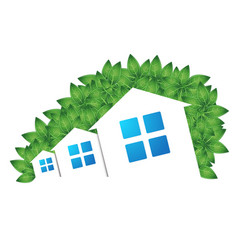 houses and green leaves vector image