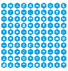 100 leaf icons set blue vector