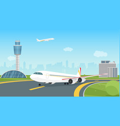 Airplane taking off from airport runway passenger vector