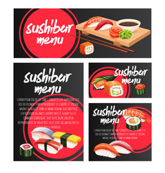 banners japanese sushi roll vector image