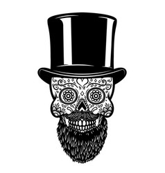 bearded mexican sugar skull in vintage hat day of vector image