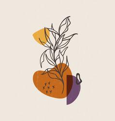 Botanical print boho minimalist printable wall art vector
