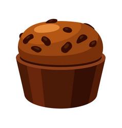 brown homemade muffin tasty baked spongy cake vector image
