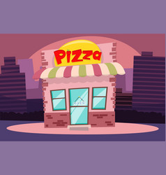 building or pizzeria facade flat cartoon pizza vector image