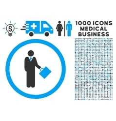 Businessman Rounded Icon With Medical Bonus vector image