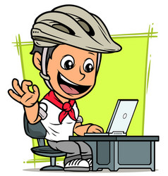 cartoon cyclist boy character with laptop vector image