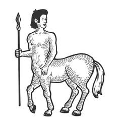 Centaur myth creature engraving vector