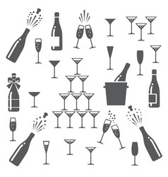 champagne icons set vector image