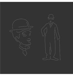 Charlie Chaplin Linear style White vector