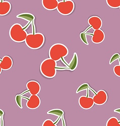 Cherry pattern Seamless texture with ripe red vector