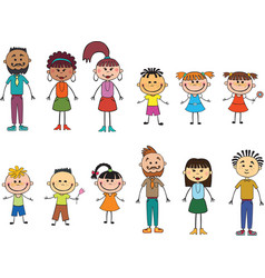 Children adulds isolated look up with interes vector