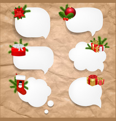 christmas set speech bubble vector image