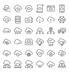 cloud storage and network simple icon vector image