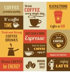 Coffee mini poster set vector image