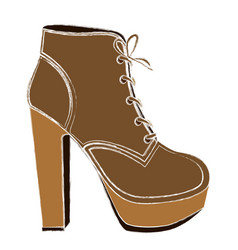 Color sketch of high heel shoe with shoelaces vector