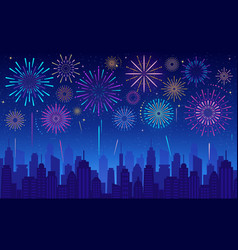 colorful festive fireworks in dark evening sky vector image