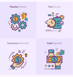 Colorful flat design icon passive income fast vector