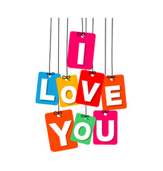 colorful hanging cardboard tags - i love vector image