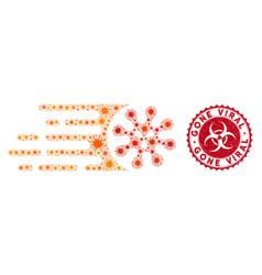 coronavirus mosaic gone viral icon with distress vector image