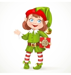 Cute little girl Santa elf with gift vector