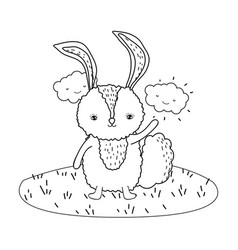 cute little rabbit character in the camp vector image