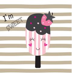 cute with funny ice cream vector image