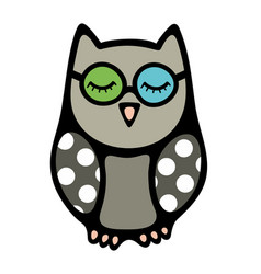 doodle owl bird with closed eyes in glasses vector image